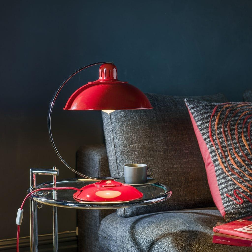 FRANKLIN retro mid century desk lamp in traffic red enamel finish