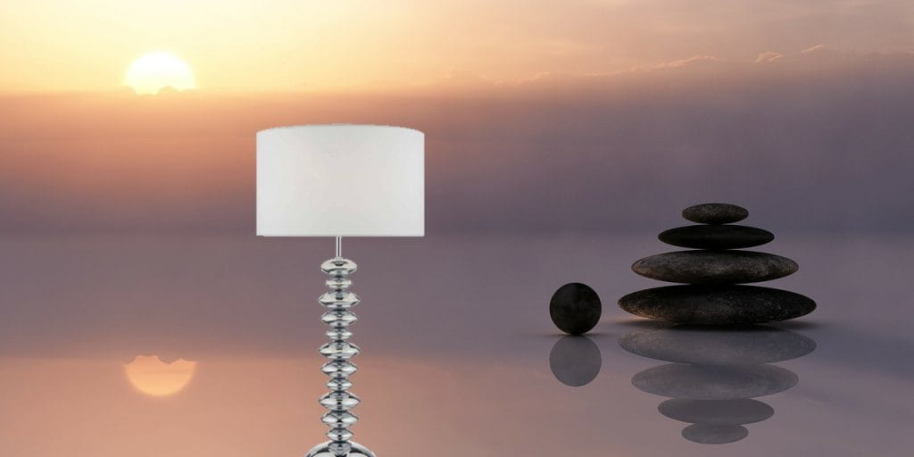 The Lighting Book PAYTON modern polished chrome table lamp with cotton shade
