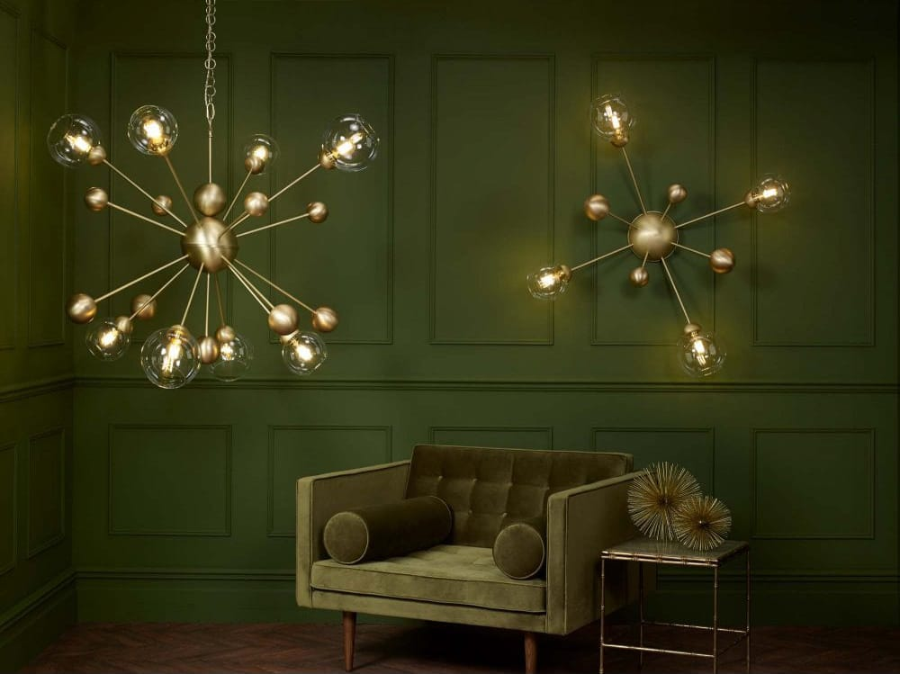 COSMOS 8 light horizontal pendant in butter brass