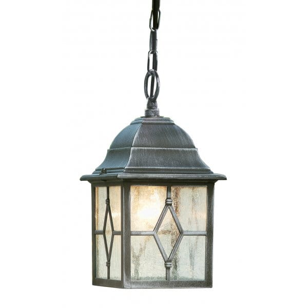 GENOA antique black silver hanging garden lantern