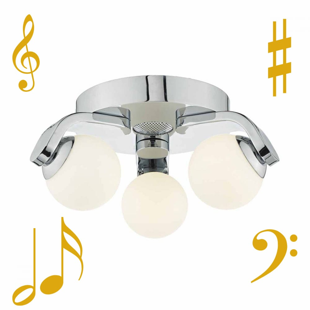 The Lighting Book IKER polished chrome bathroom ceiling light with speaker