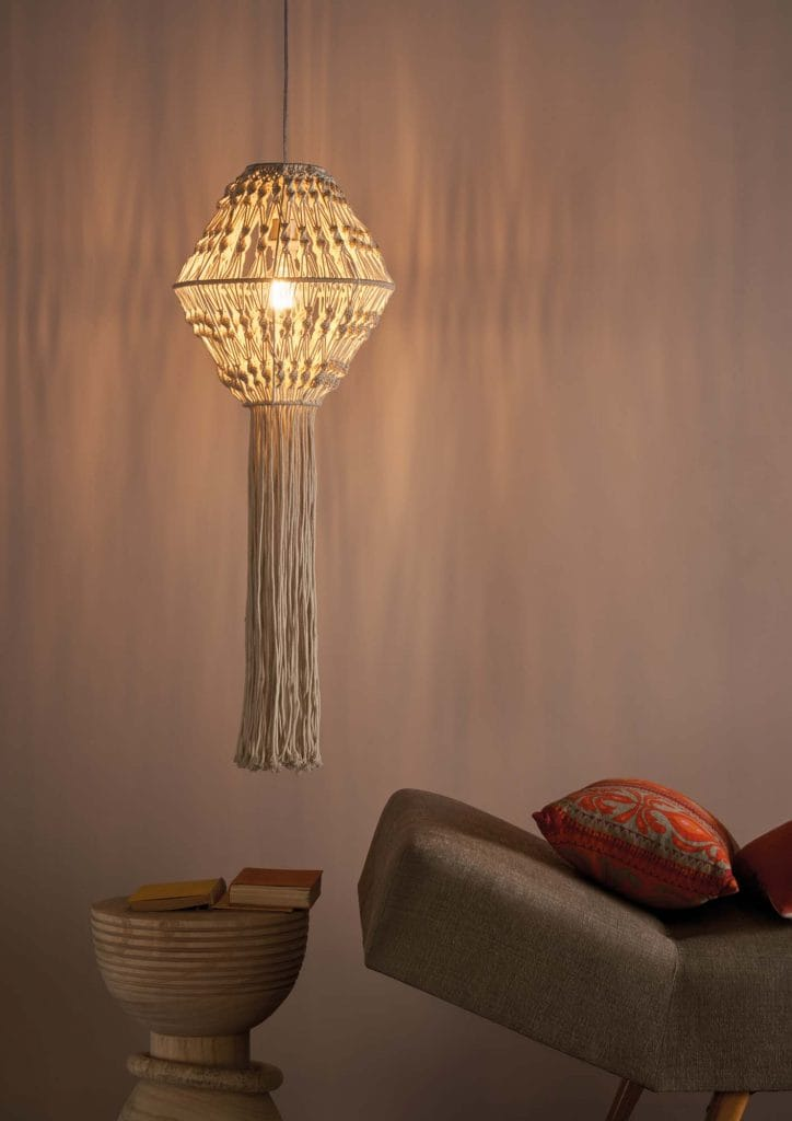 The Lighting Book KALEB hand knotted macrame easy fit pendant shade in cream