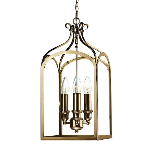 SENATOR traditional 3lt ceiling pendant lantern in antique brass
