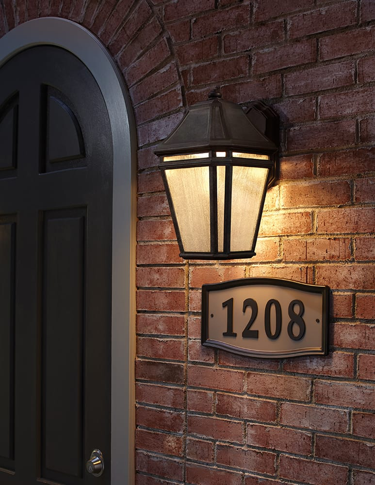 Single outdoor wall lantern in a weathered chestnut finish by The Lighting Company