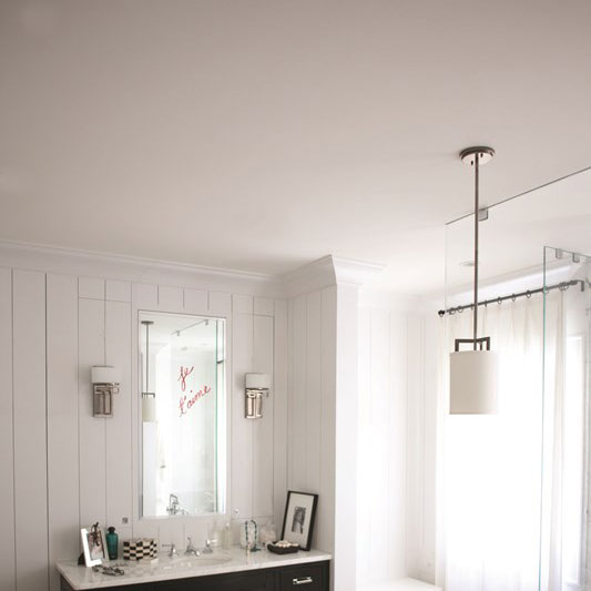 HAMPTON modern antque nickel mini ceiling pendant with off white linen shade from Lighting Company UK