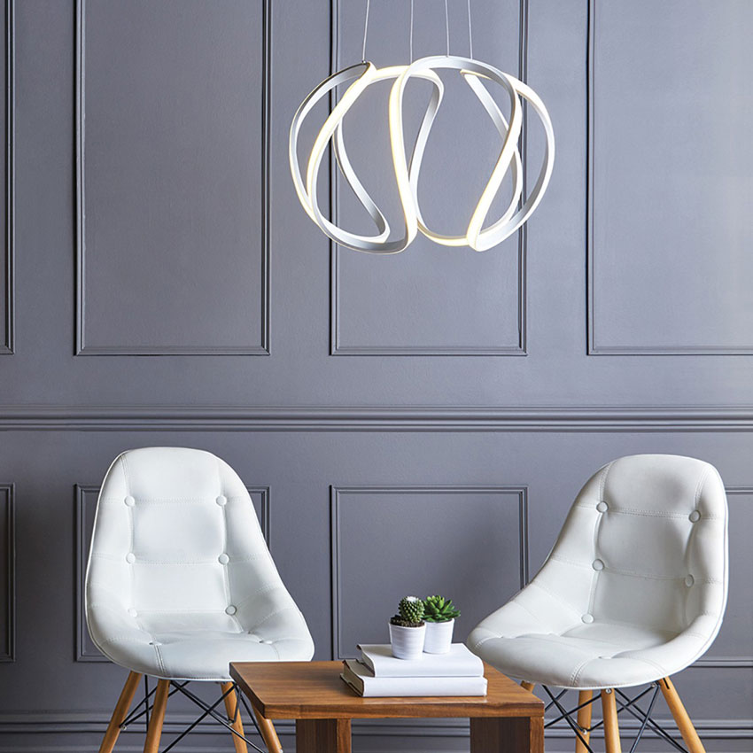 The Lighting Book ALONSA sculptural white LED ceiling pendant (large) by Lighting Company UK