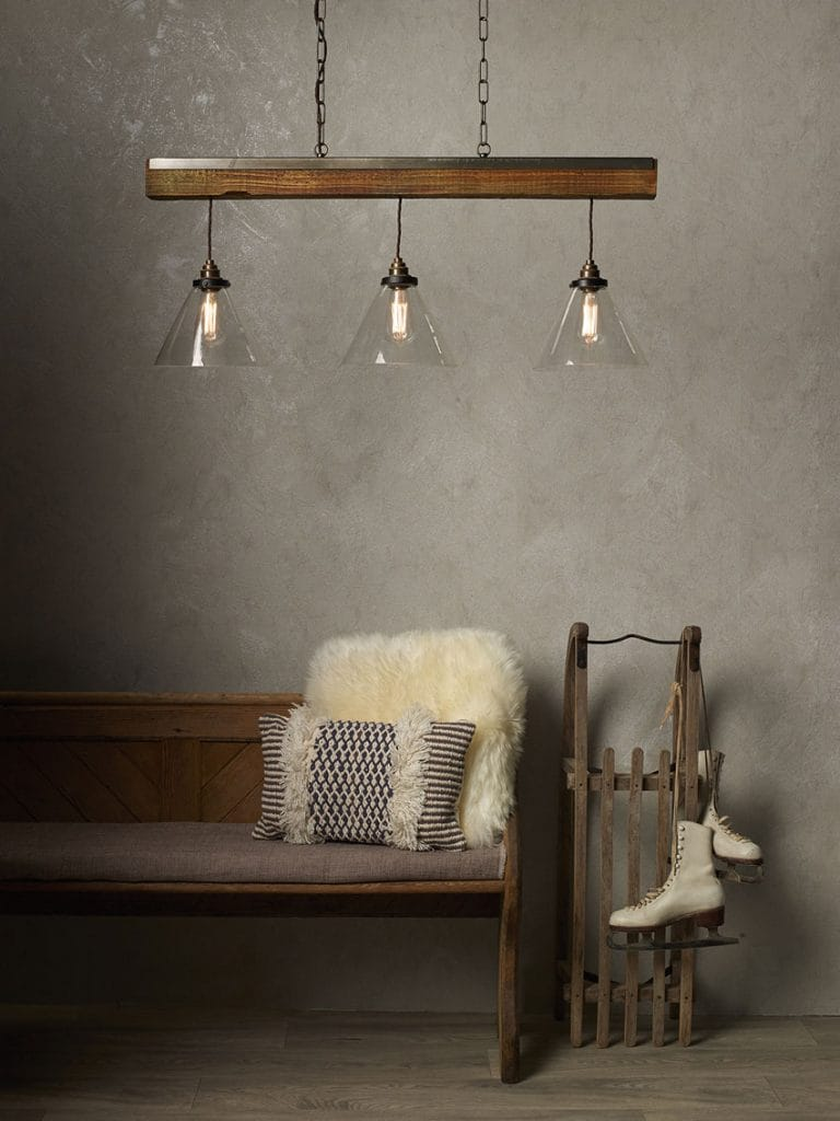 ASPEN rustic 3 light wooden pendant bar with clear glass shades from Lighting Company UK