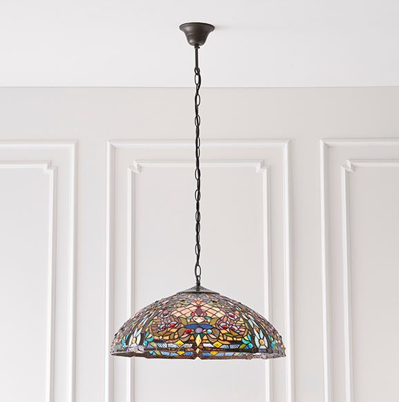 ANDERSON Tiffany stained glass ceiling pendant light (large) by Lighting Company