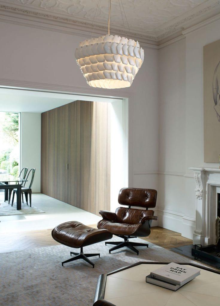 CRANTON decorative hexagonal white bone china ceiling pendant by Lighting Company UK