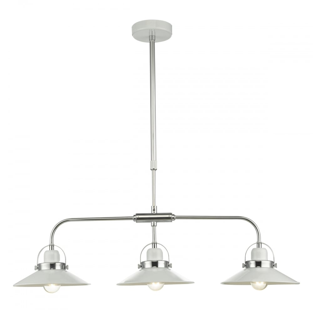 LIDEN 3 light pendant bar in glossy white and chrome by Lighting Company UK