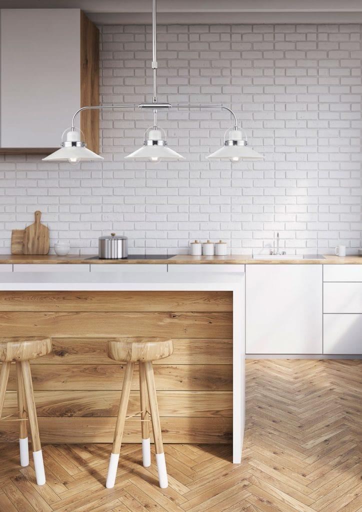 Lighting Company UK LIDEN 3 light pendant bar in glossy white and chrome