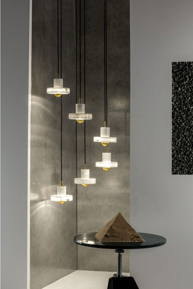 Tom Dixon STONE white marble ceiling pendant light by Lighting Company UK