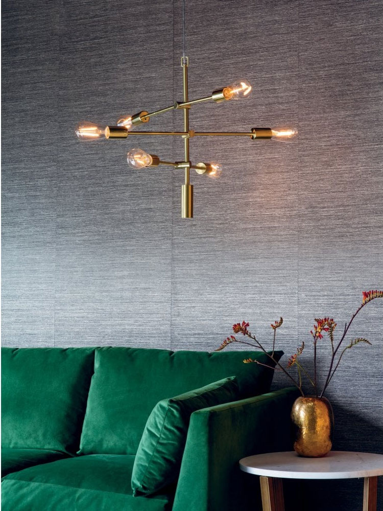 Project: Lighting RUBENS satin brushed gold 6 light ceiling pendant from Lighting Company UK