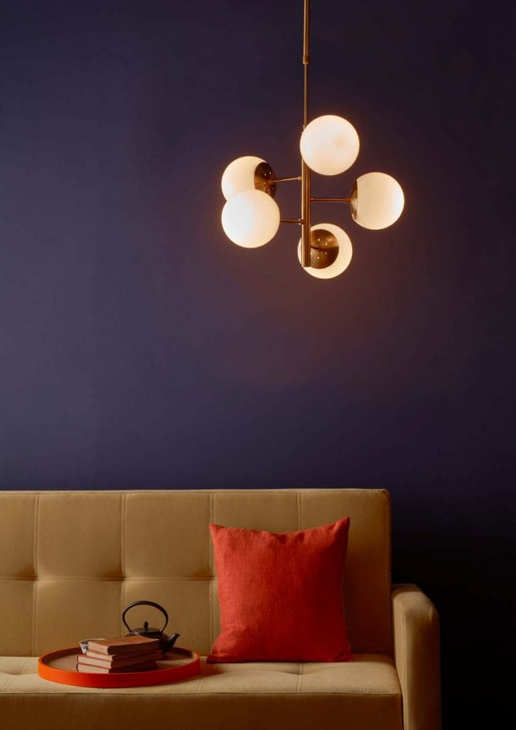 The Lighting Book Vol: 2 BOMBAZINE 5 light natural brass pendant with opal glass globes