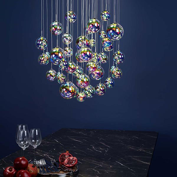 The Lighting Book Vol: 2 CESARIO 12 light LED pendant cluster in chrome with multi colour glasses by Lighting Company UK