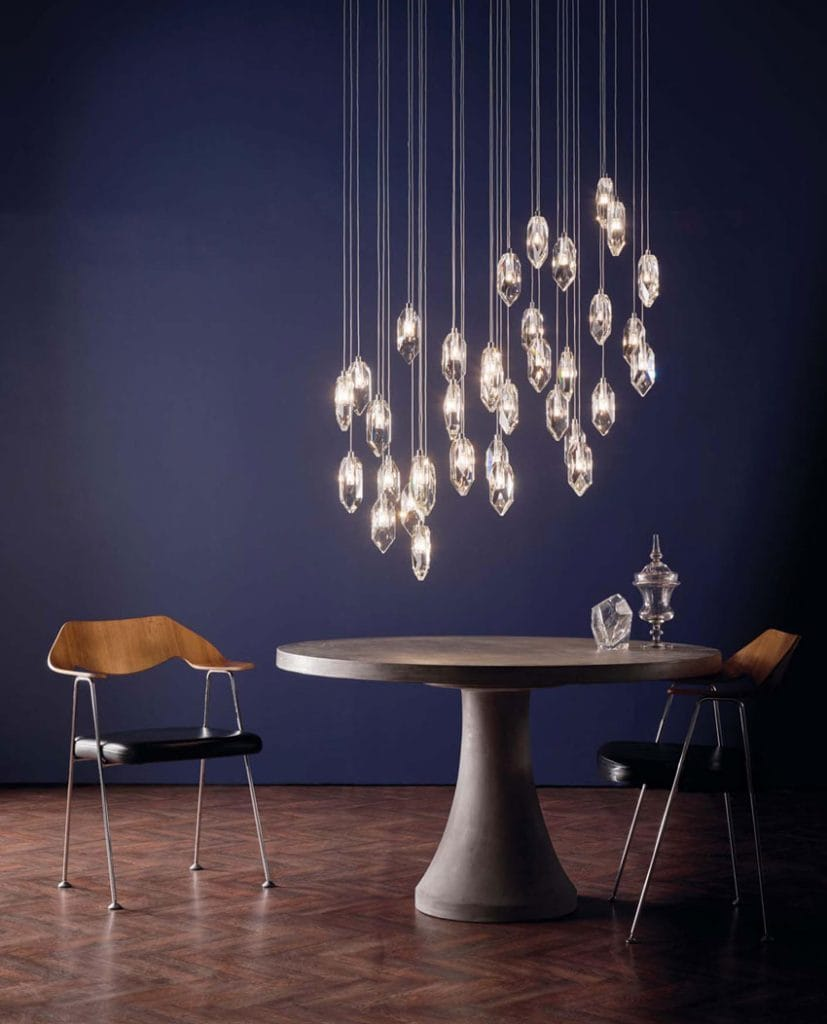 The Lighting Book Vol: 2 CRYSTAL 18 light chrome and crystal ceiling pendant cluster