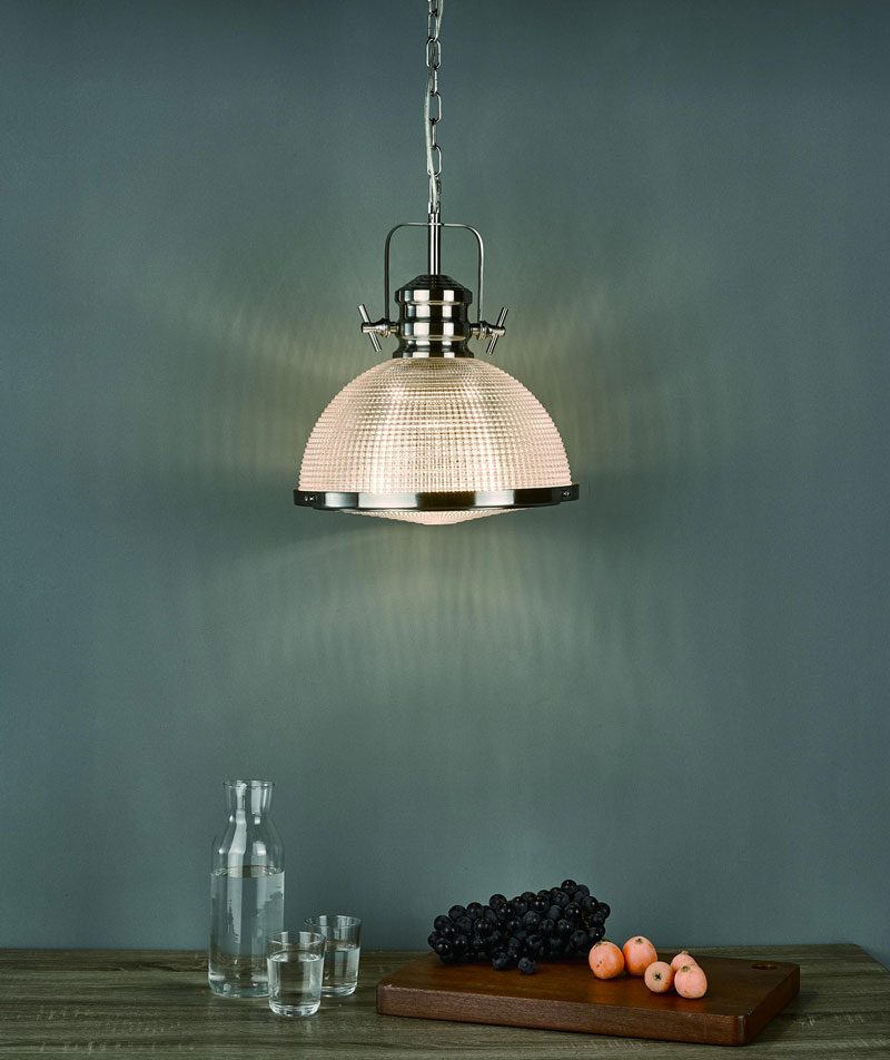 The Lighting Book Vol: 2 PEYTON 1 Light Pendant Satin Nickel And Textured Glass