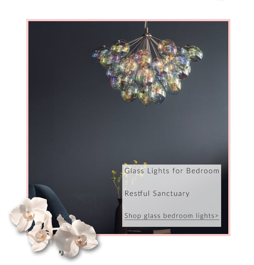 Project: Lighting INFINITY 6 light iridescent glass ceiling pendant chandelier