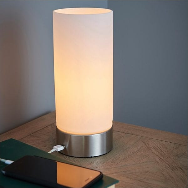 The Lighting Directory DARA USB table lamp in brushed nickel with opal glass shade