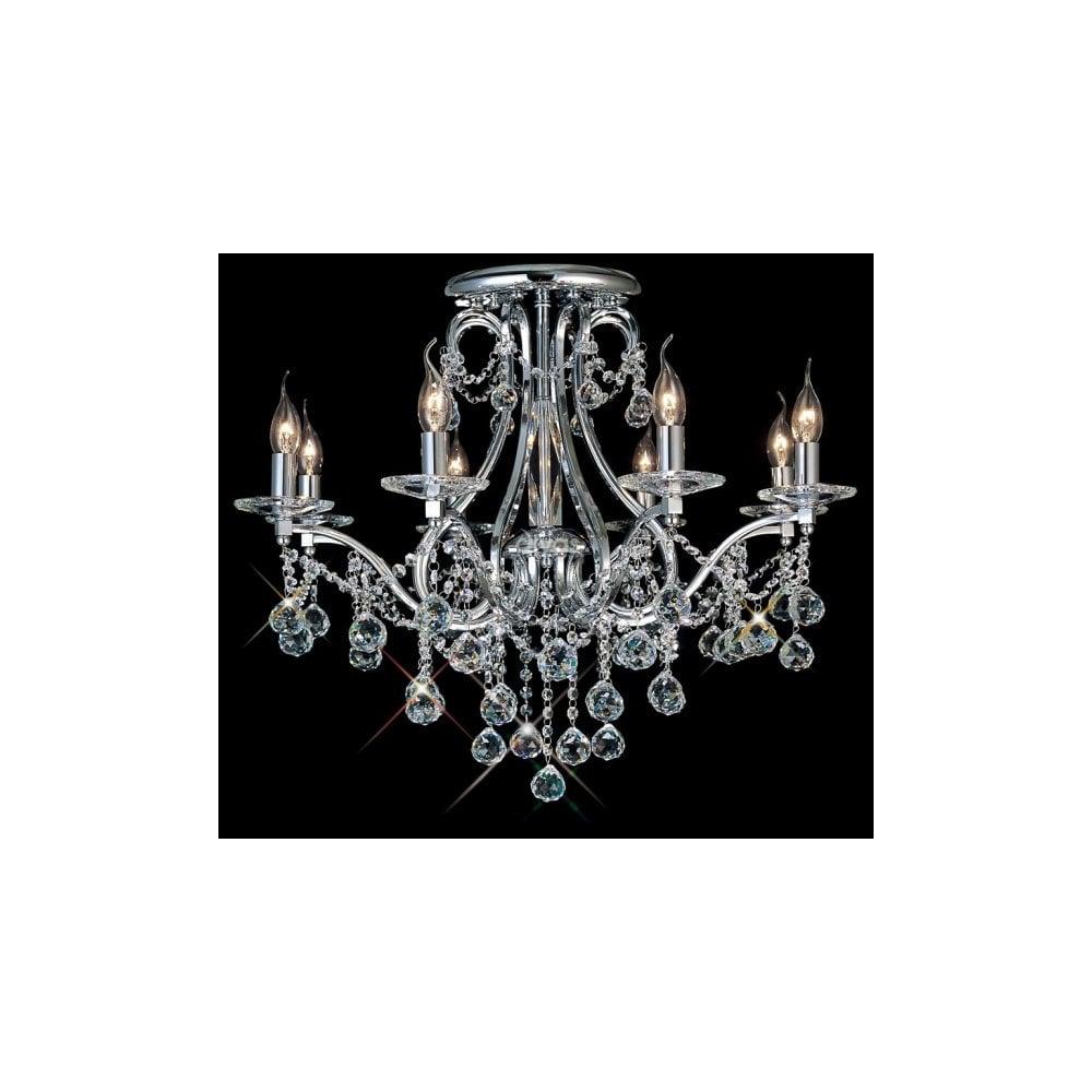 Low ceiling chandelier.
