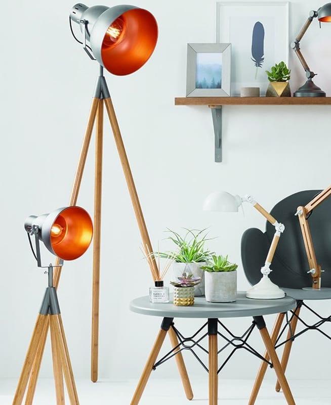 CHARLESTON Grey Metal andNatural Wood Tripod Floor Lamp