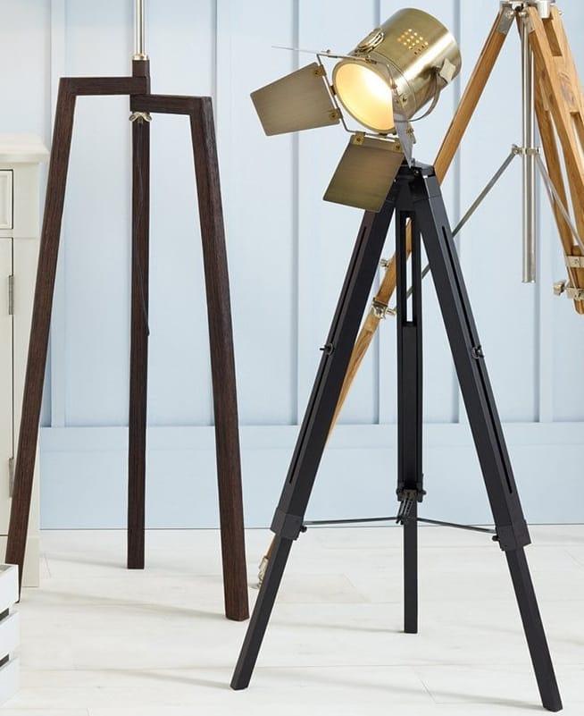 DIRECTOR Grey Wood and Brass Metal Film Tripod Floor Lamp