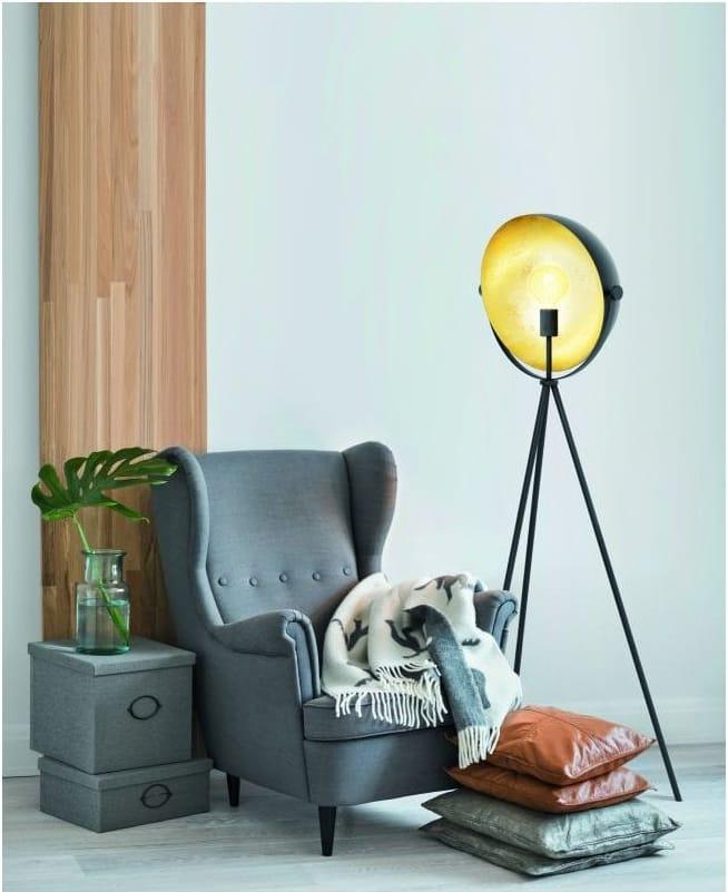 DARNIUS Black Gold Tripod Floor Lamp