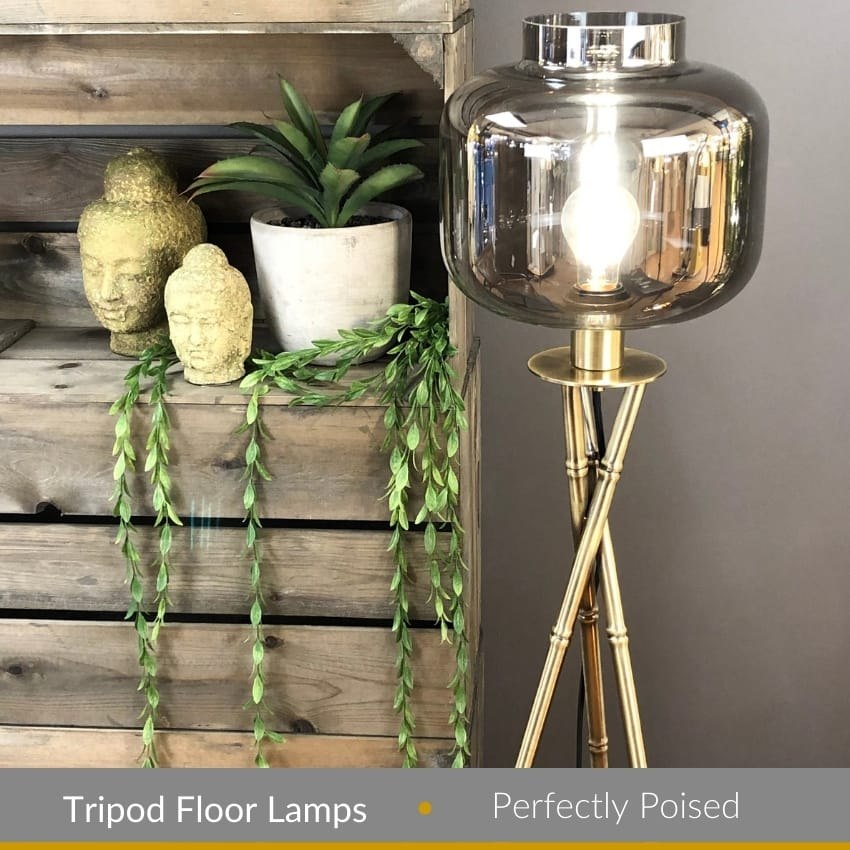 BAMBOO antique brass tripod style floor lamp base (base only)