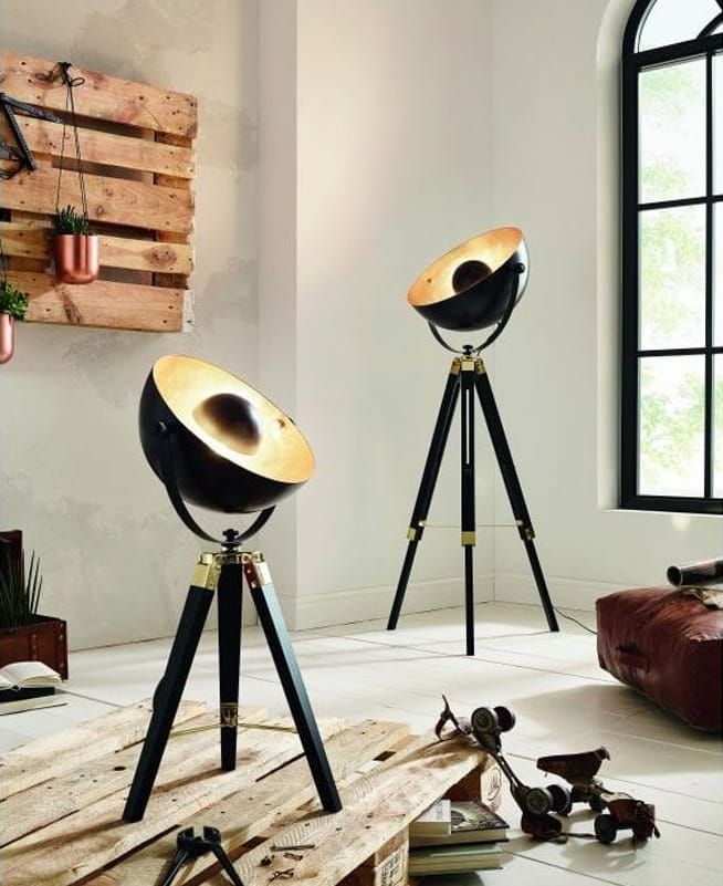 COVALEDA Black, Brass and Gold Tripod Floor Lamp