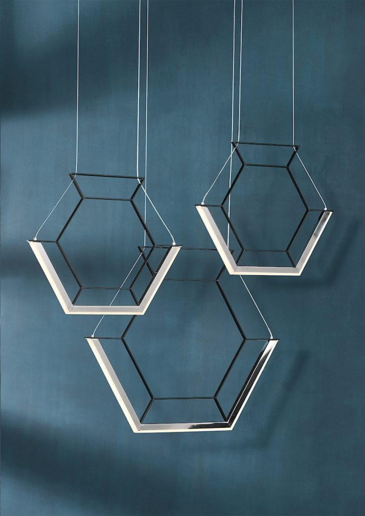 HEXAGON contemporary black LED 3 light ceiling pendant bar