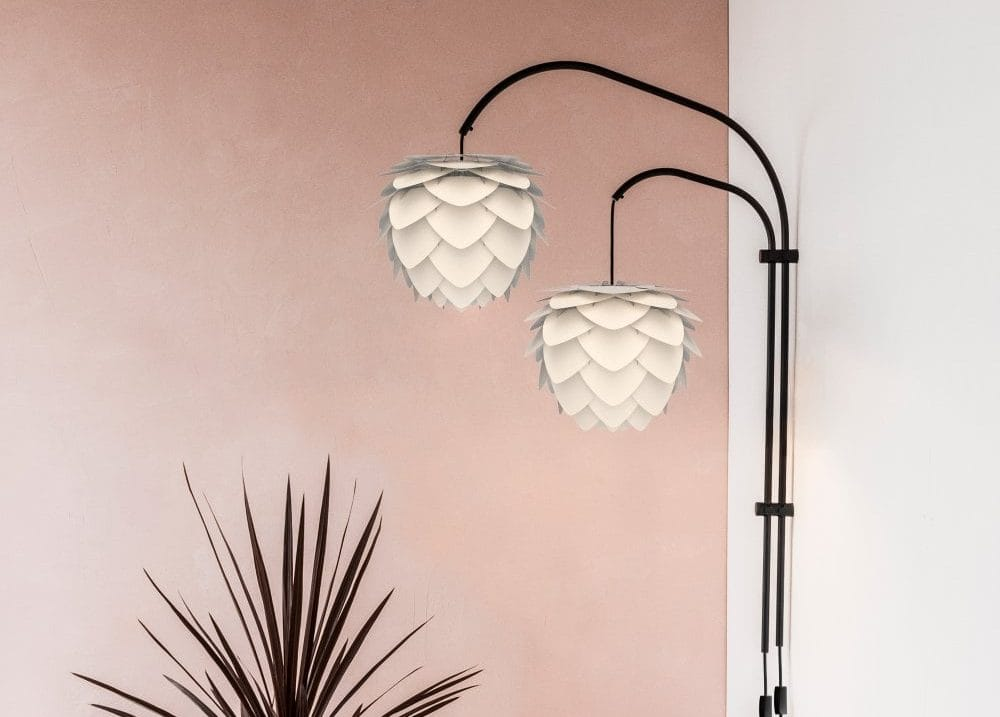 double armed plug in wall light