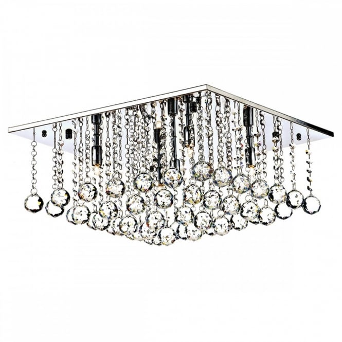 Square chrome and crystal flush 5 light chandelier for modern settings decorative square flush chrome amp crystal ceiling light mozeypictures Choice Image