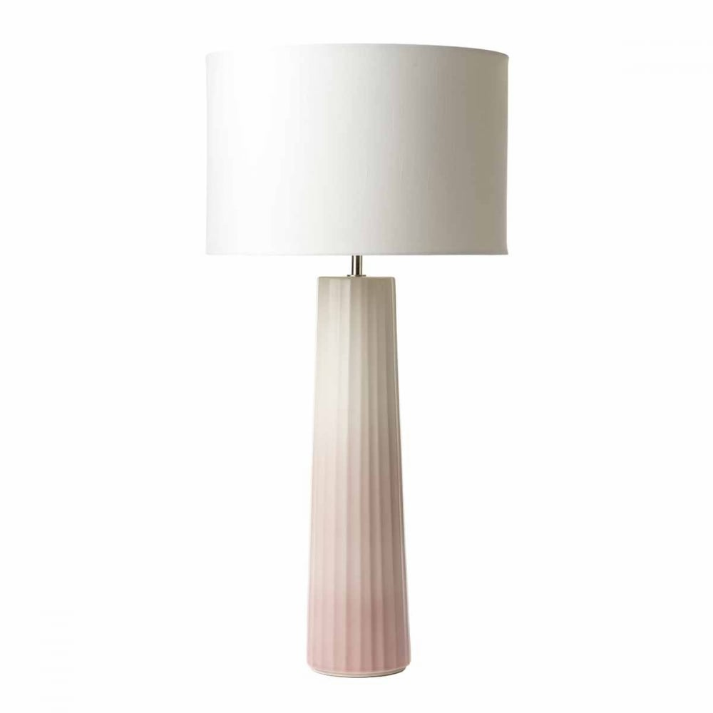 Ribbed ceramic table lamp base in a gradient pink finish