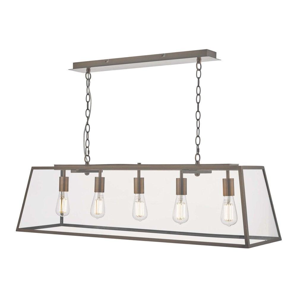 Antique Copper 5 Light Ceiling Pendant Bar With Glass Panels