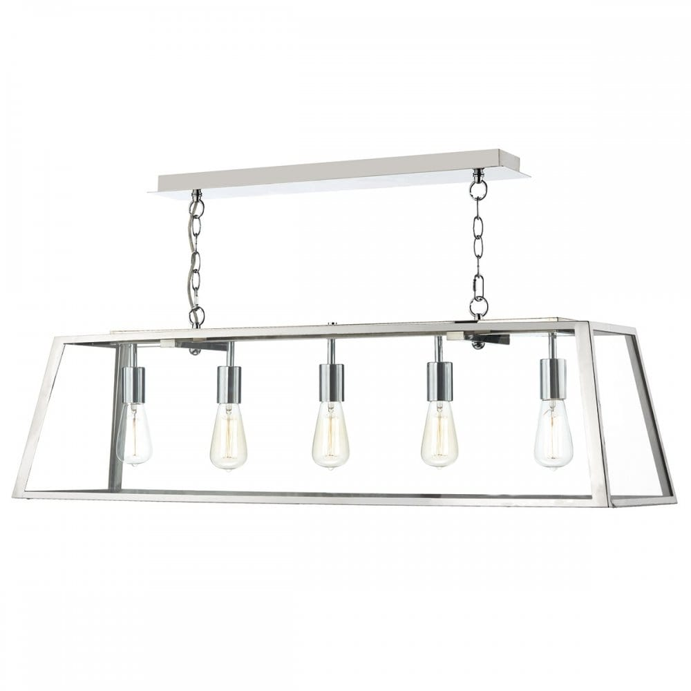 ACADEMY Steel Ceiling Light a Linear Shaped Glass Box Pendant Light fitting.