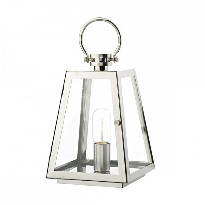 ACRE Unusual Outdoor Table Lamp in stainless steel finish. Safe for exterior use even if it rains IP44 sealed against water penetration.