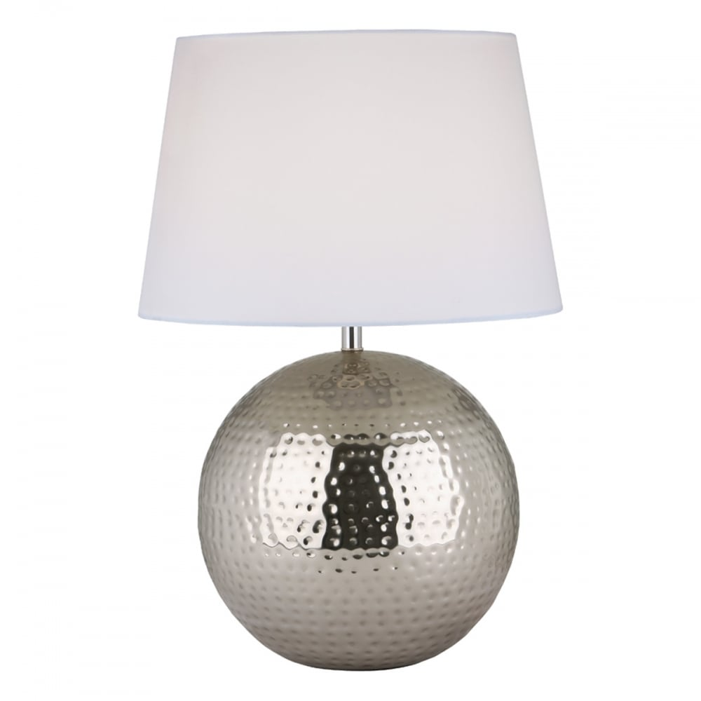 Aditya Hammered Metal Globe Shaped Table Lamp Base In Polished Nickel