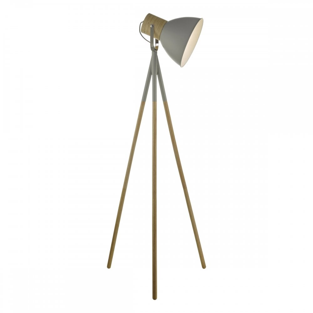 Scandinavian Matte Grey And Wood Tripod Floor Lamp