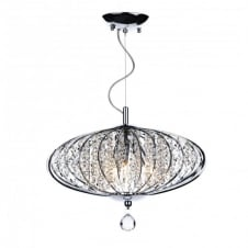 ADRIATIC chrome & glass high ceiling pendant