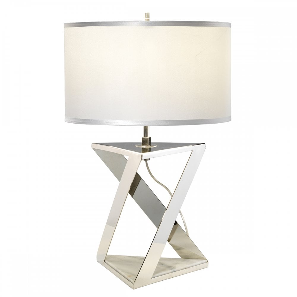 Modern Polished Nickel And White Marble Table Lamp Lighting Company