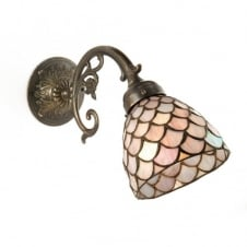 AGED BRASS WALL LIGHT with pink Tiffany shade