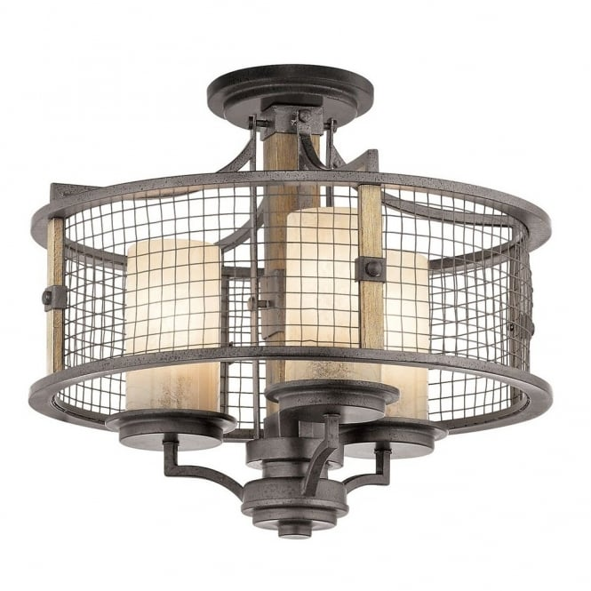 Rustic iron and wooden ceiling pendant with mesh surround shade rustic wooden and iron ceiling pendant light with mesh surround shade aloadofball Images