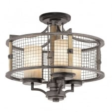 rustic wooden and iron ceiling pendant light with mesh surround shade