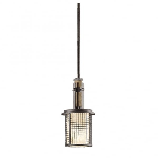 AHRENDALE rustic anvil iron and wood mini ceiling pendant with mesh surround