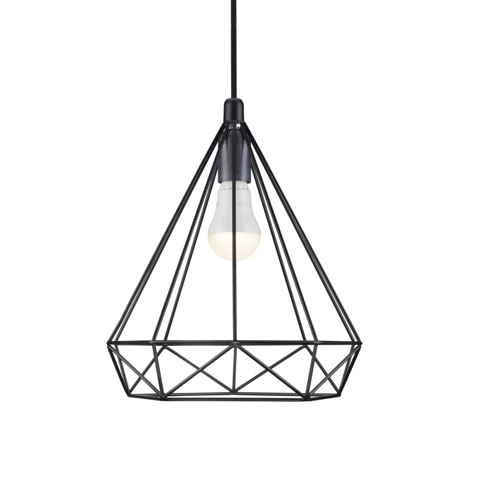 Contemporary Geometric Wire Frame Ceiling Pendant in Black