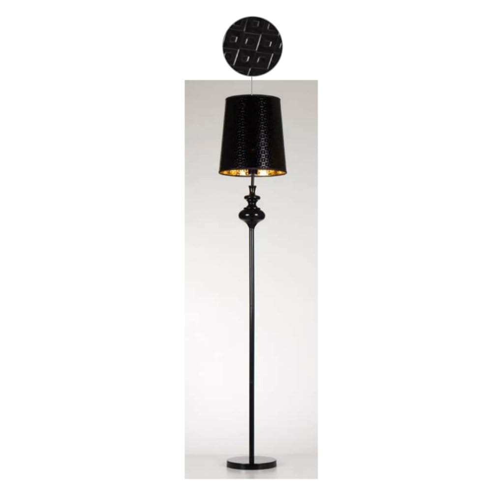 Contemporary Black Floor Lamp With Black Relief Patterned Shade