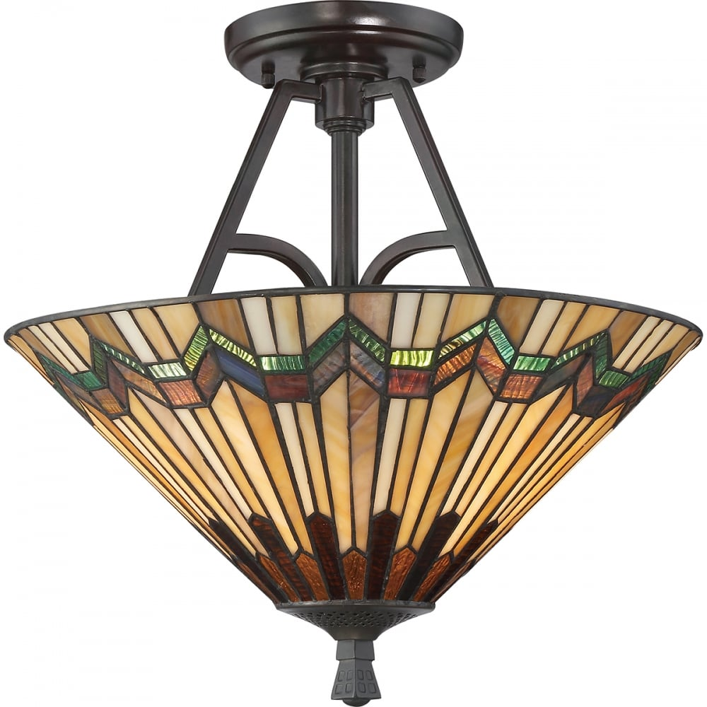 Tiffany Semi Flush Ceiling Light W Bronze Metalwork Art Deco Glass