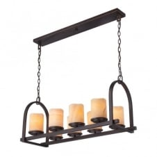 rustic bronze bar pendant with yellow onyx stone candle shades
