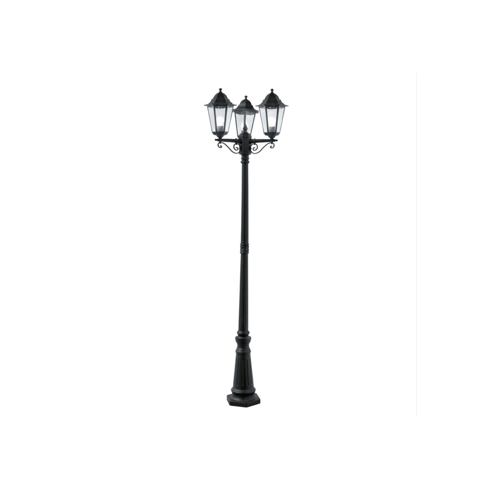 Garden lamp post light black aluminium 3 headed victorian style alex 3 headed black aluminium garden lamp post aloadofball Image collections
