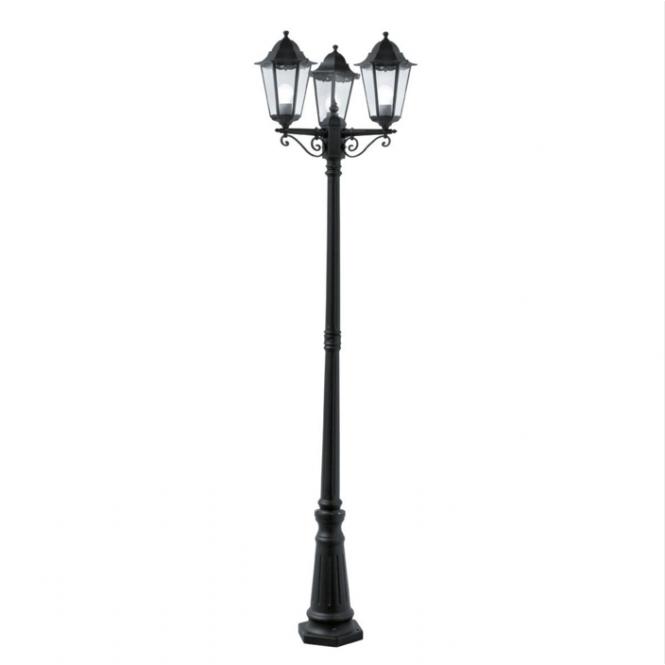 Garden Lamp Post Light Black Aluminium 3 Headed Victorian